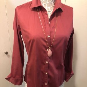 Banana Republic Dusty Rose fitted stretch blouse